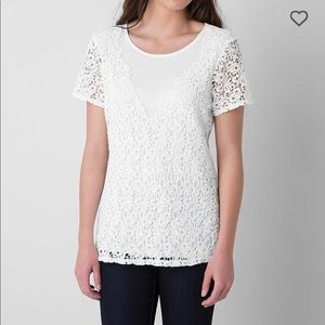 BKE Red Lacey White Top